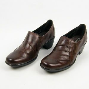 Clarks Brown Leather Slip-On Clogs 7.5 M